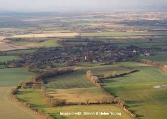 Aerial view over the villages